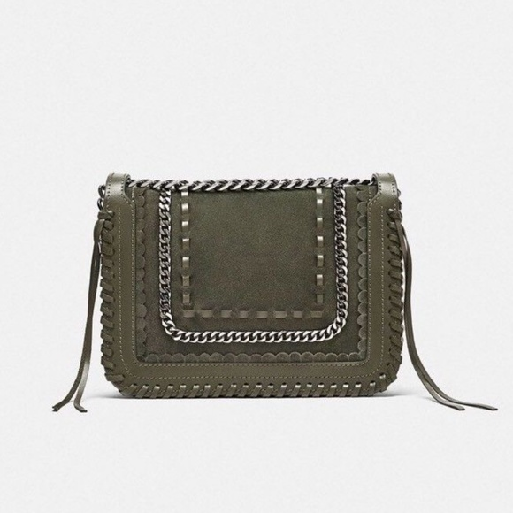 fe896025 Zara LEATHER CROSSBODY BAG WITH CHAIN-ref 1346/304 NWT